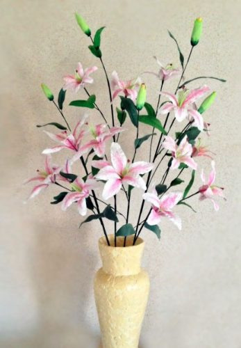 a simulated silk lily flower
